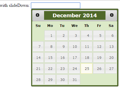 jquery datepicker slideDown