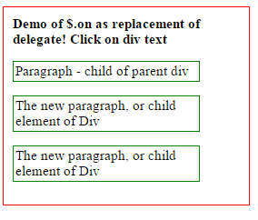 jquery on delegate