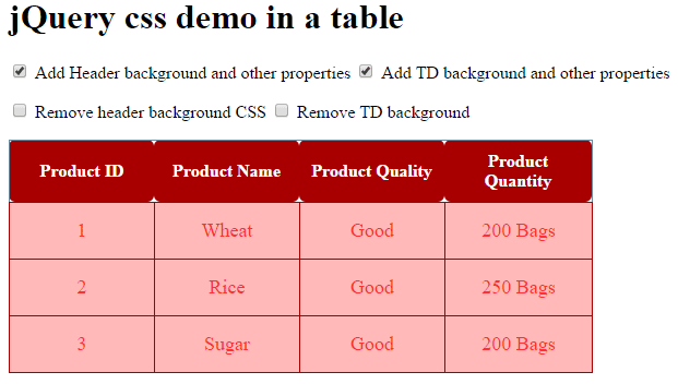 5 demos of jquery to add change remove css for div menu for Table th margin css