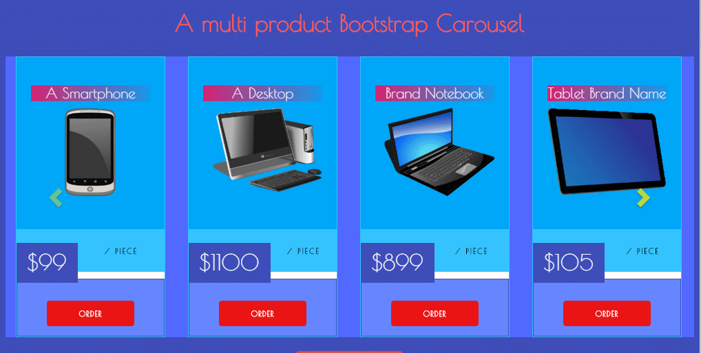 Bootstrap product carousel