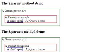 jQuery $.parent and $.parents methods compared with 4 examples