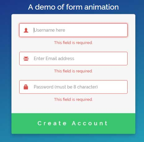 jQuery form animation