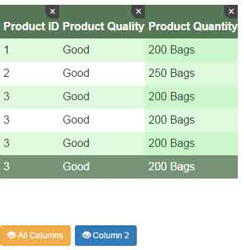 Show hide html table columns by jquery 3 demos for Hide table th jquery