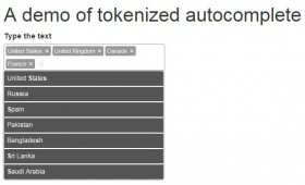 A jQuery token/Autocomplete input field solution with 2 Demos