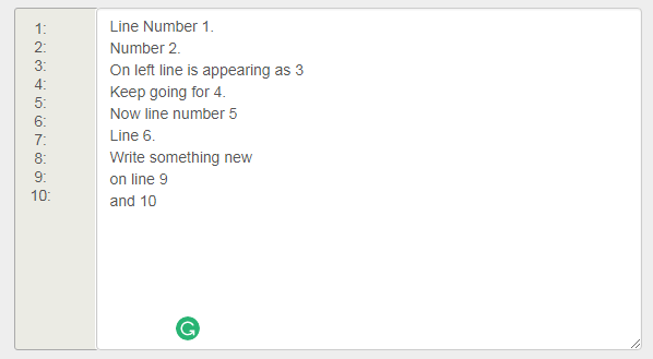 bootstrap LinenNumbers textarea