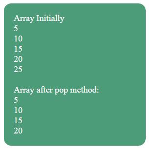JavaScript array pop