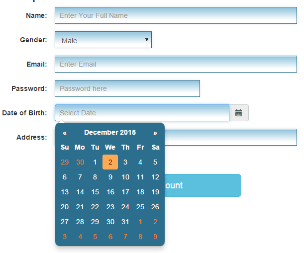 Bootstrap 4 datepicker cdn example