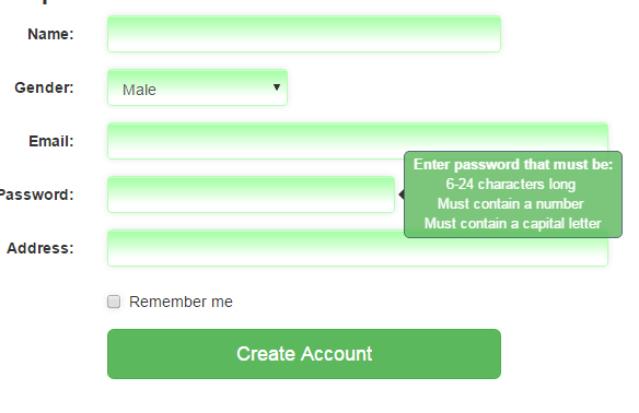 Bootstrap Tooltip Form