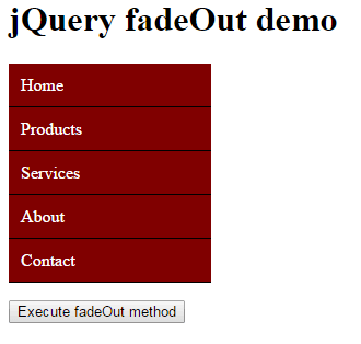 jQuery fadeOut