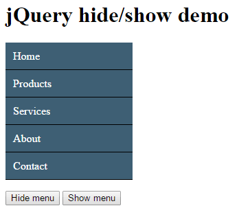 How to use jquery hide show methods with div table - Jquery remove div ...