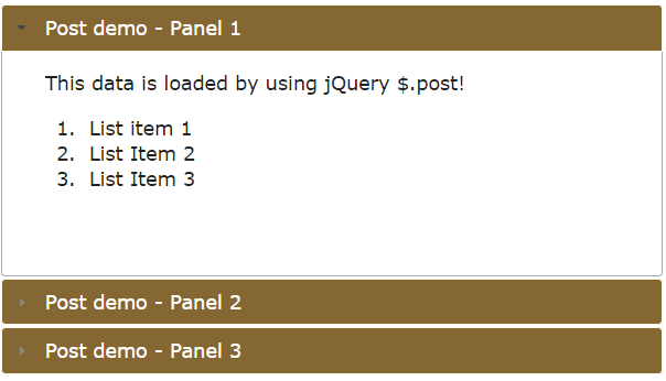 jQuery post accordion text