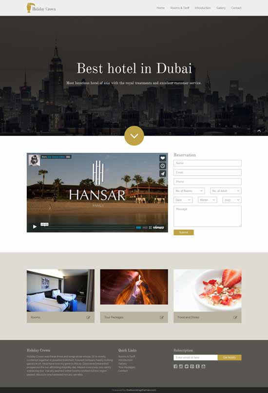 Bootstrap tempelate Hotel