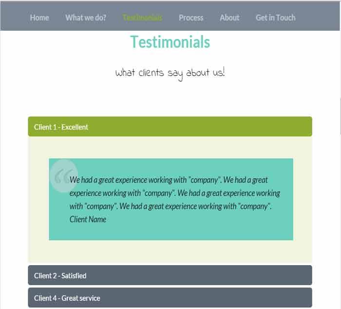 Bootstrap- free theme testimonials