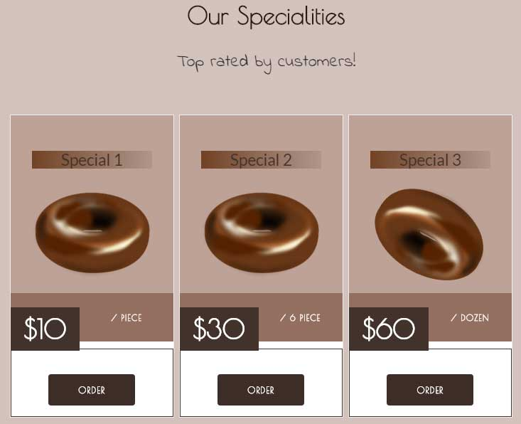 Bootstrap choco bar specials