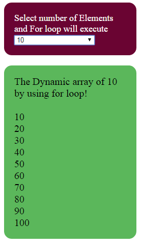 JavaScript for loop dynamic