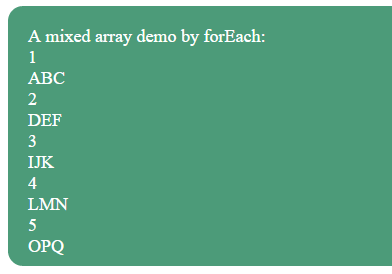JavaScript foreach array mixed