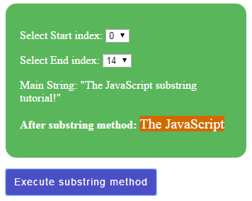 JavaScript substring dropdown