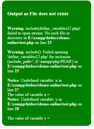 PHP include warning