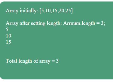 JavaScript length set