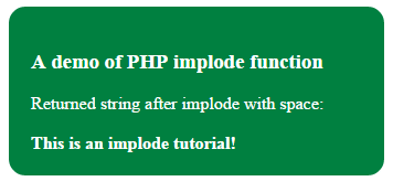 PHP implode space