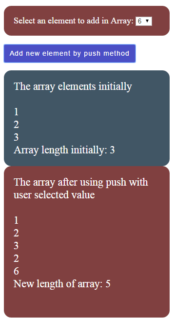 JavaScript array push select