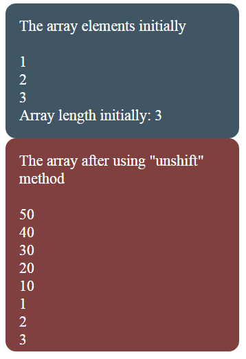 JavaScript array unshift