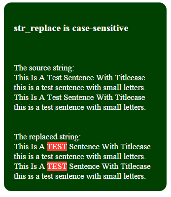 PHP str_replace case sensitive
