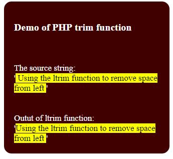 PHP ltrim