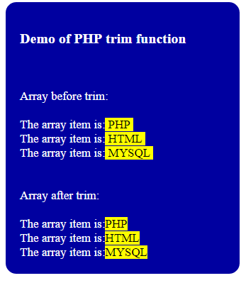 PHP trim arrays