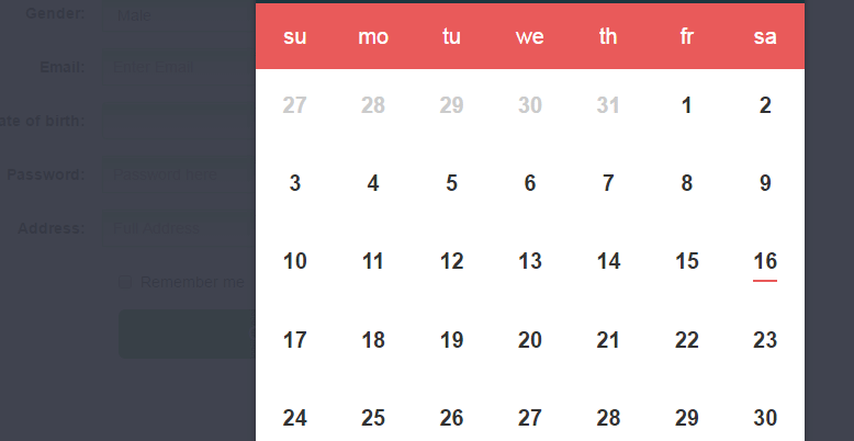 JavaScript datepicker Bootstra form
