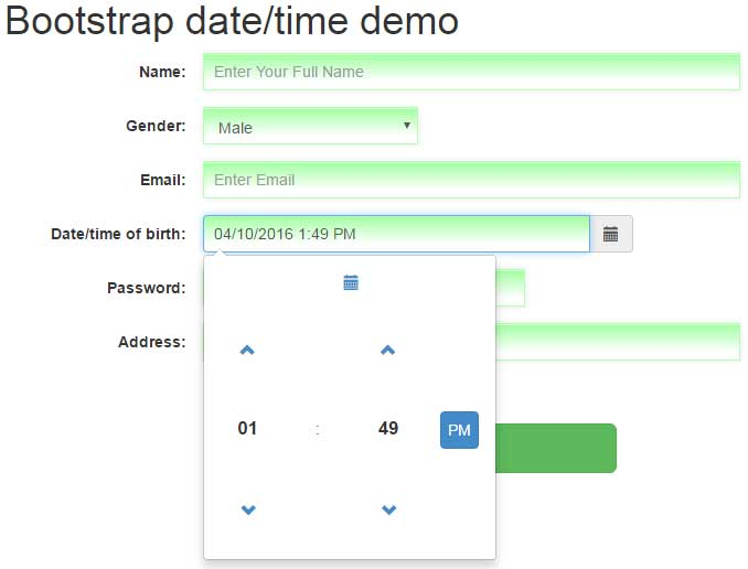 Bootstrap datetimepicker: managing with date and time in Bootstrap