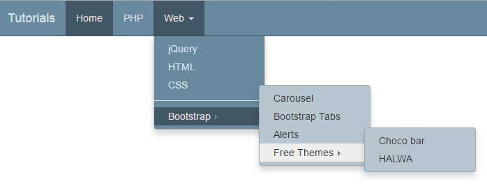Creating navbar in Bootstrap with multiple child level menus