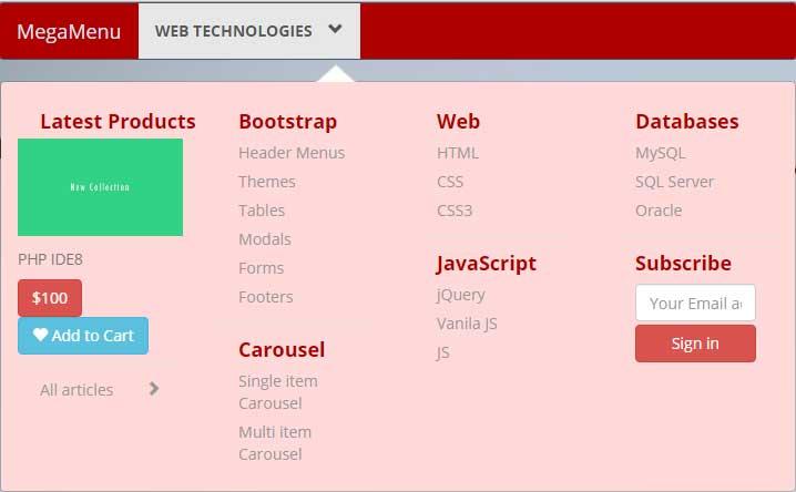 Bootstrap mega menu Red