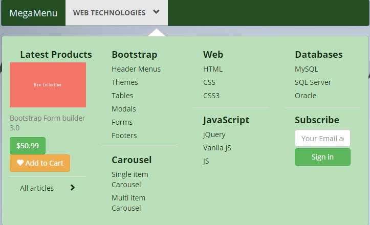 A Bootstrap Mega Menu Template With 3 Styles