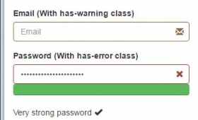 jQuery password strength indicator: 3 demos with Bootstrap