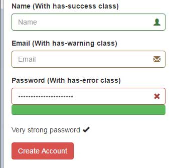 Bootstrap password strengt