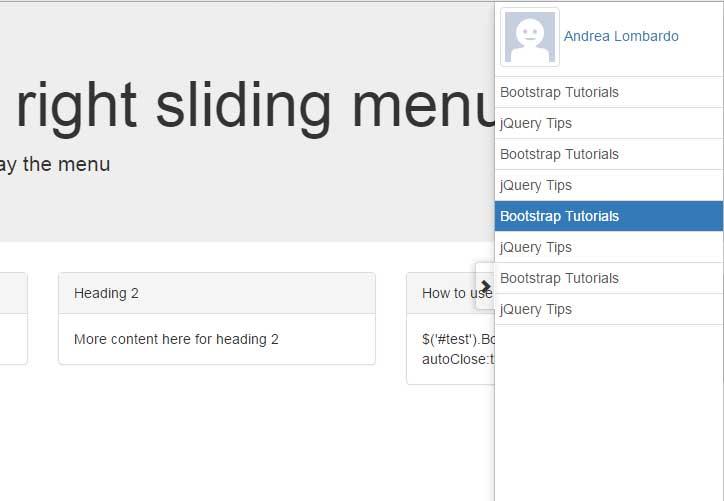 Bootstrap sliding menu right