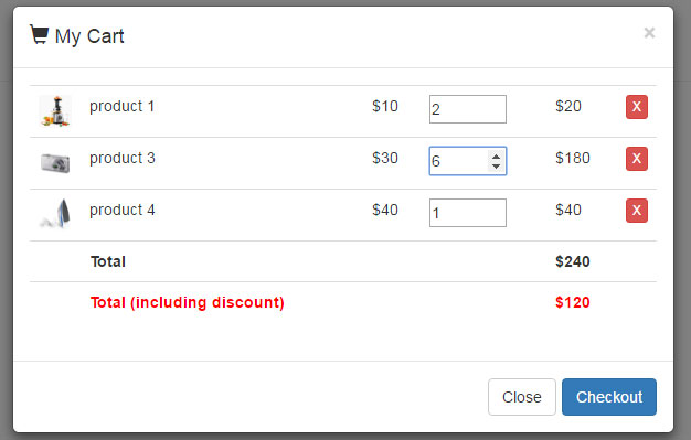 Bootstrap shopping cart