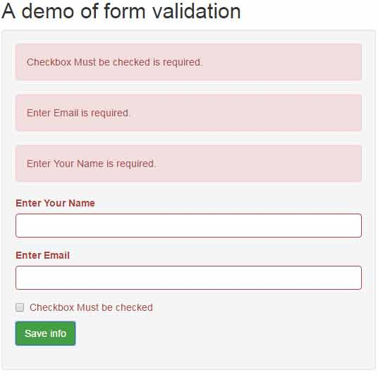 jQuery form validation with Bootstrap: 4 examples