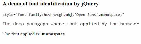 jquery font detection wrong