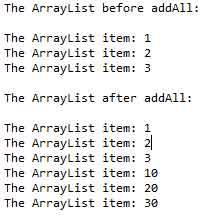 arraylist addall
