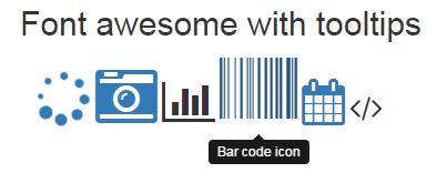 How to add Bootstrap tooltips on glyphicons and font-awesome icons