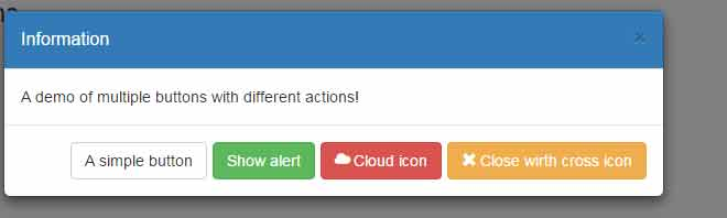 bootstrap modal buttons