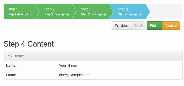 jquery registration form template - a bootstrap jquery checkout step wizard plug in 4 demos