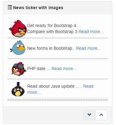 bootstrap news ticker icons
