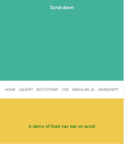 jQuery fixed menu