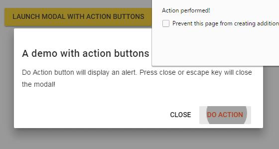 jQuery modal action