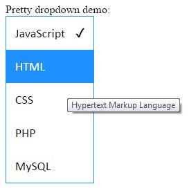 jQuery dropdown tooltip