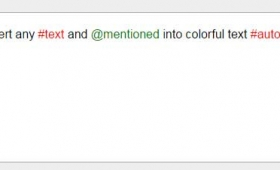 Convert hash tags (#) and @mentions into colorful text by jQuery autotag