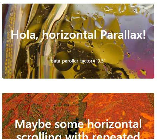 2 Demos of vertical and horizontal jQuery parallax effect
